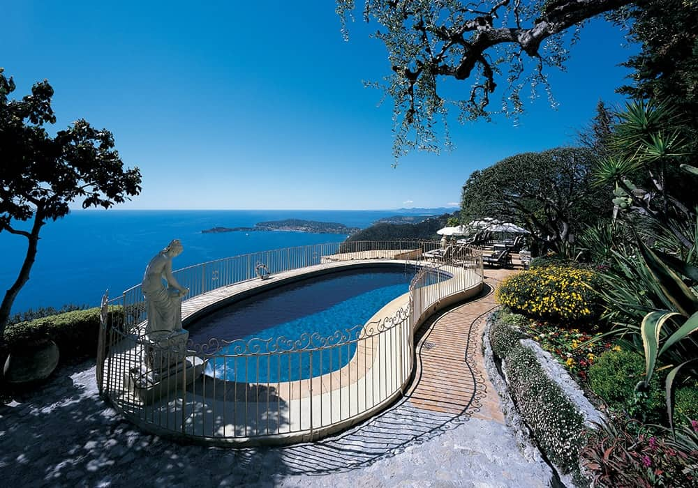 Pool and view at Chateau de la Chèvre d'or in Eze, France